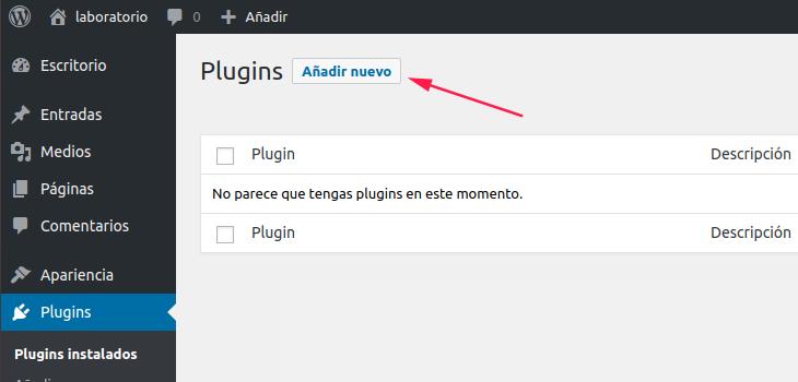 Figura 2: Localización del botón para añadir nuevo plugin