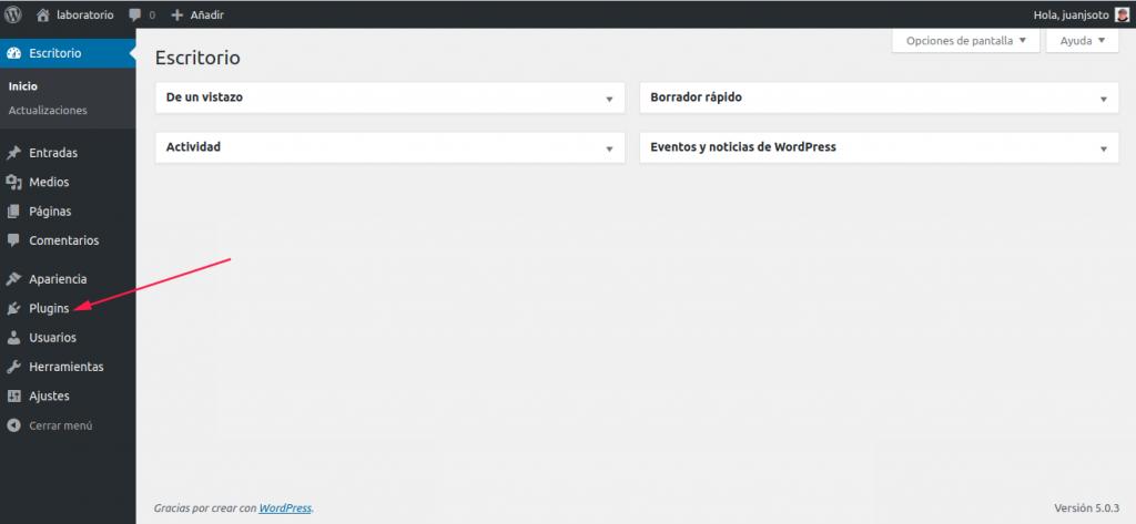 Figuar 1: Panel de administración de WordPress