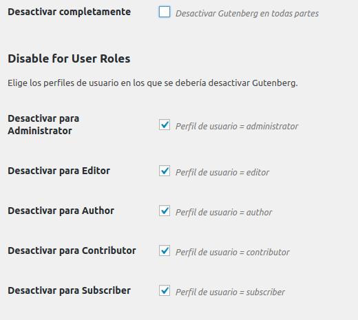 Figura 3: Desactivación por roles