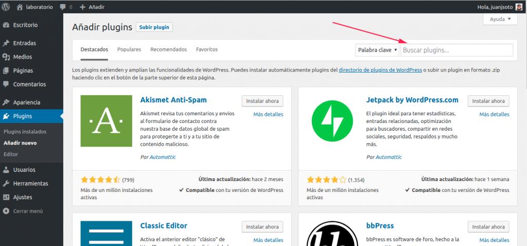Figura 3: Directorio del repositorio de plugins de WordPress