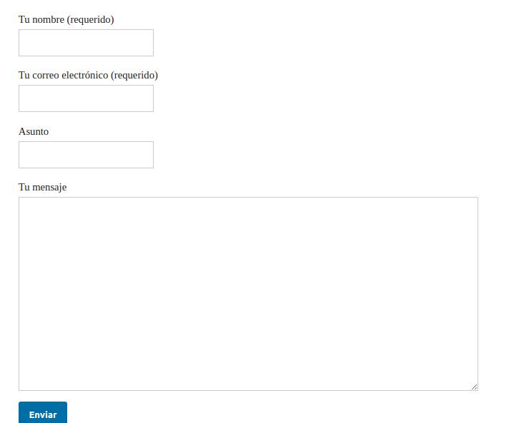 Figura 5: Formulario de contacto insertado en la página