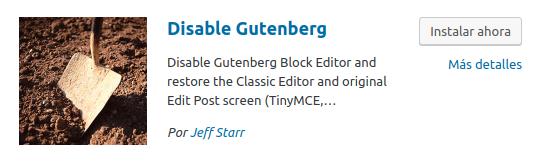 Figura 1: Icono del plugin Disable Gutenberg en repositorio de WordPress