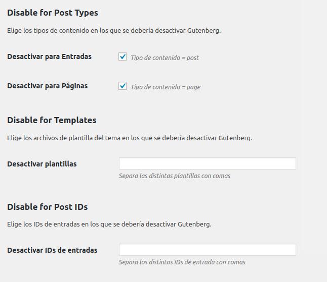Figura 4: Desactivación por tipos de contenido, plantilla, iDs de contenido