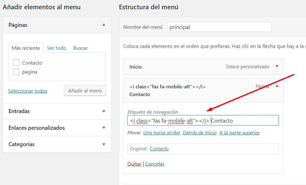 añadir icono de movil en opcion de menu min