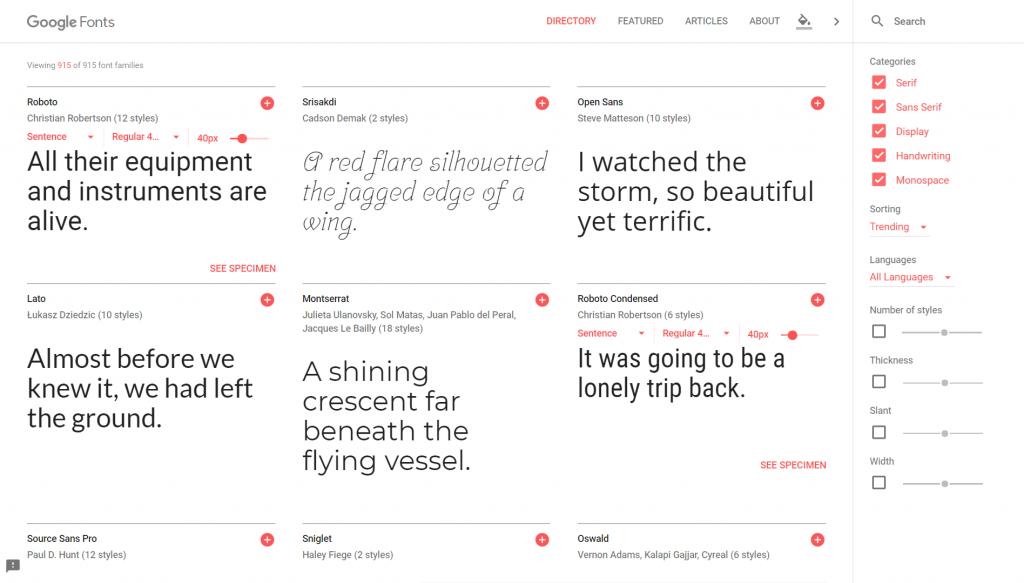 Pantallazo de Google Fonts